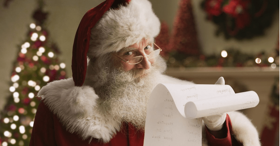 Santa holding his nice list